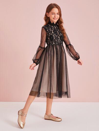 SheIn / Girls Mock Neck Lace Bodice Mesh Flare Dress Without Belt