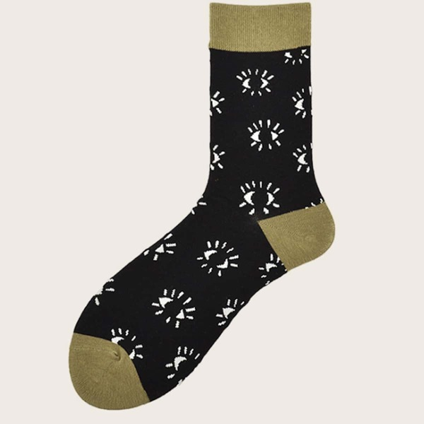 1pair Men Graphic Pattern Socks, Multicolor