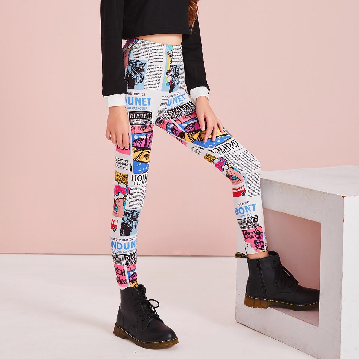 Леггинсы с эластичной талией и газетным принтом для девочек от SHEIN