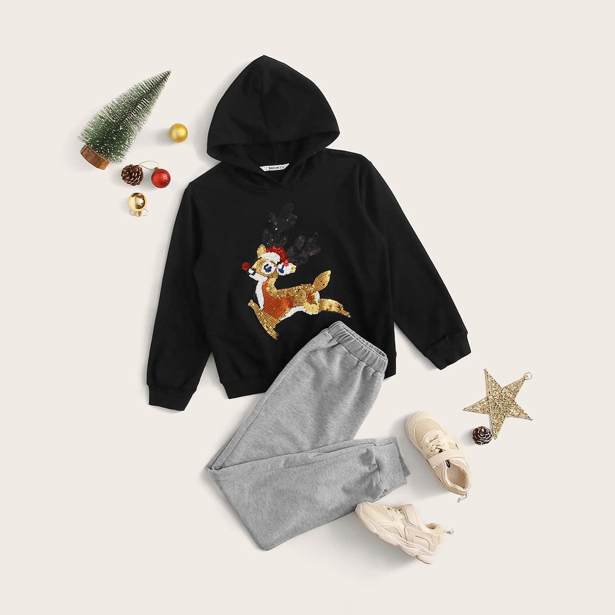 Спортивые брюки и толстовка с мультяшным принтом рождество для мальчиков от SHEIN