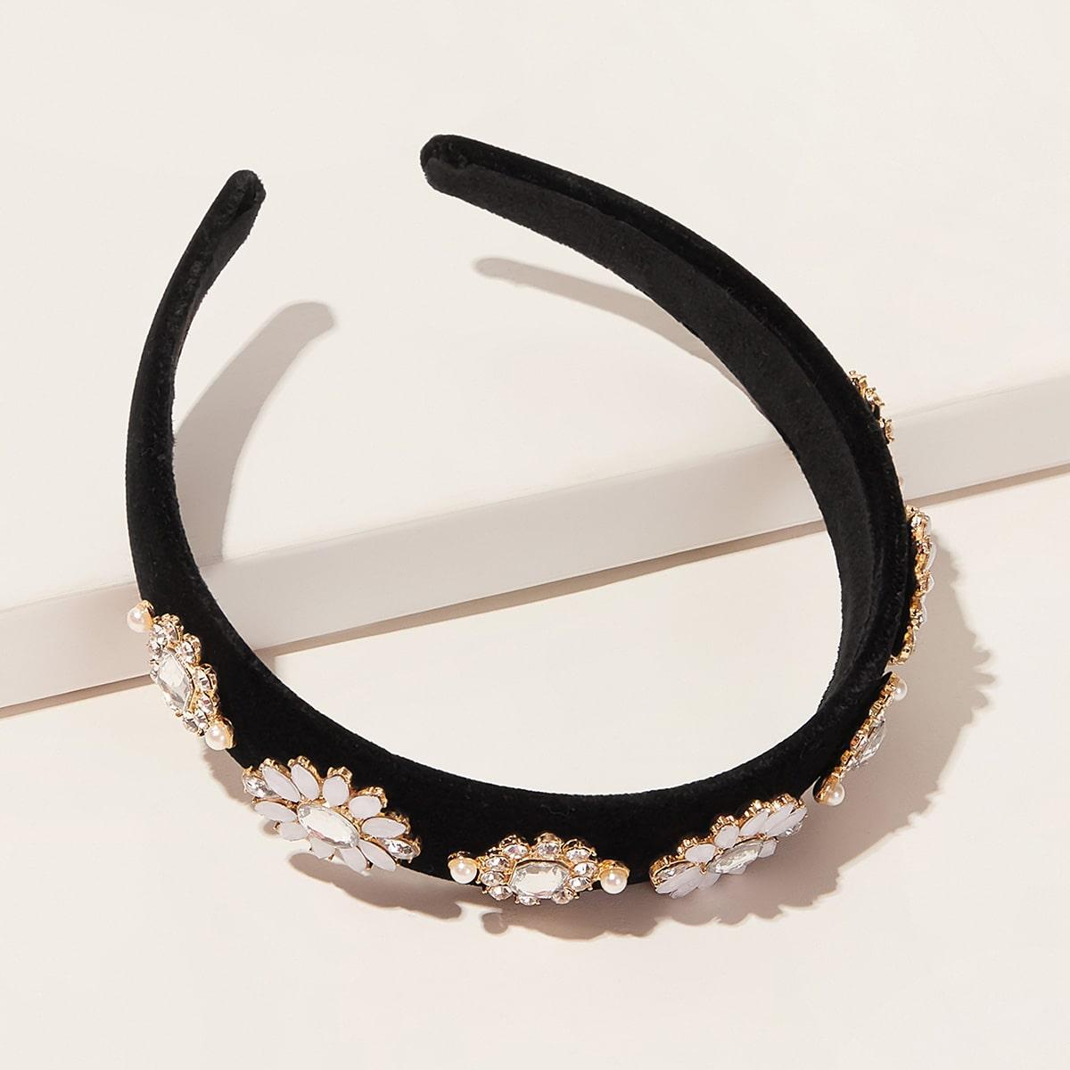 SHEIN / Stirnband mit Strass und Blume Dekor