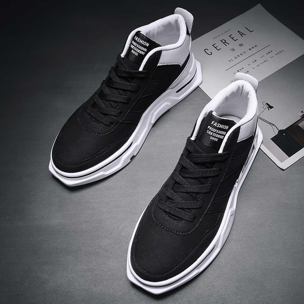 Zwart & wit Comfortabel Tekst Heren sneakers
