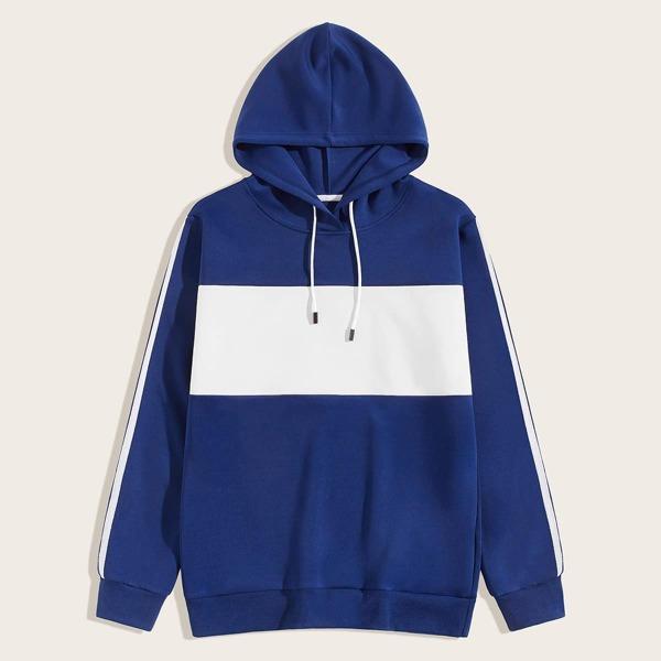 Men Colorblock Drawstring Hooded Sweatshirt, Blue