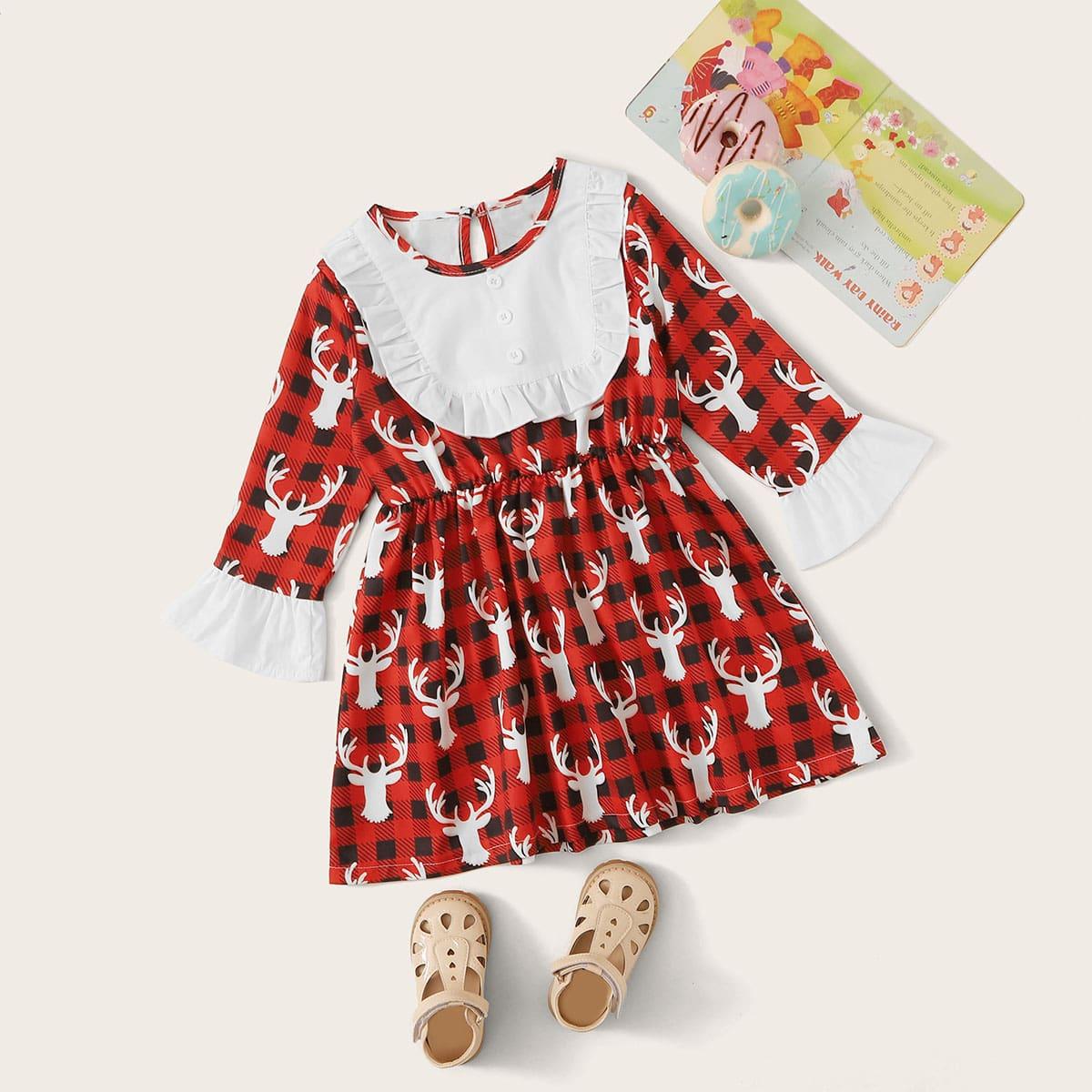 SHEIN / Kleinkind Mädchen A Linie Kleid mit Kontrast Einsatz und Weihnachten Muster
