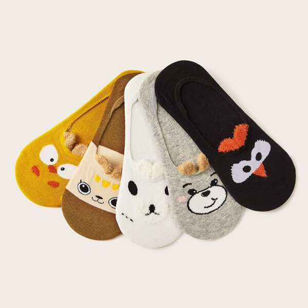 5pairs Cartoon Pattern Invisible Socks, Multicolor