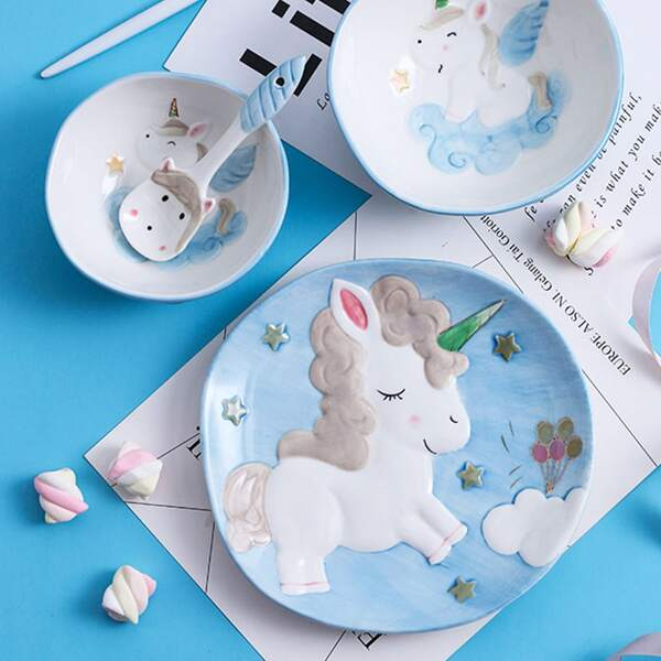 4pcs Unicorn Pattern Ceramic Tableware Set