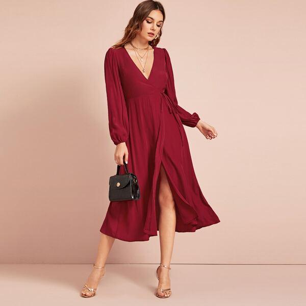 Self Tie Bishop Sleeve Wrap Dress, Burgundy