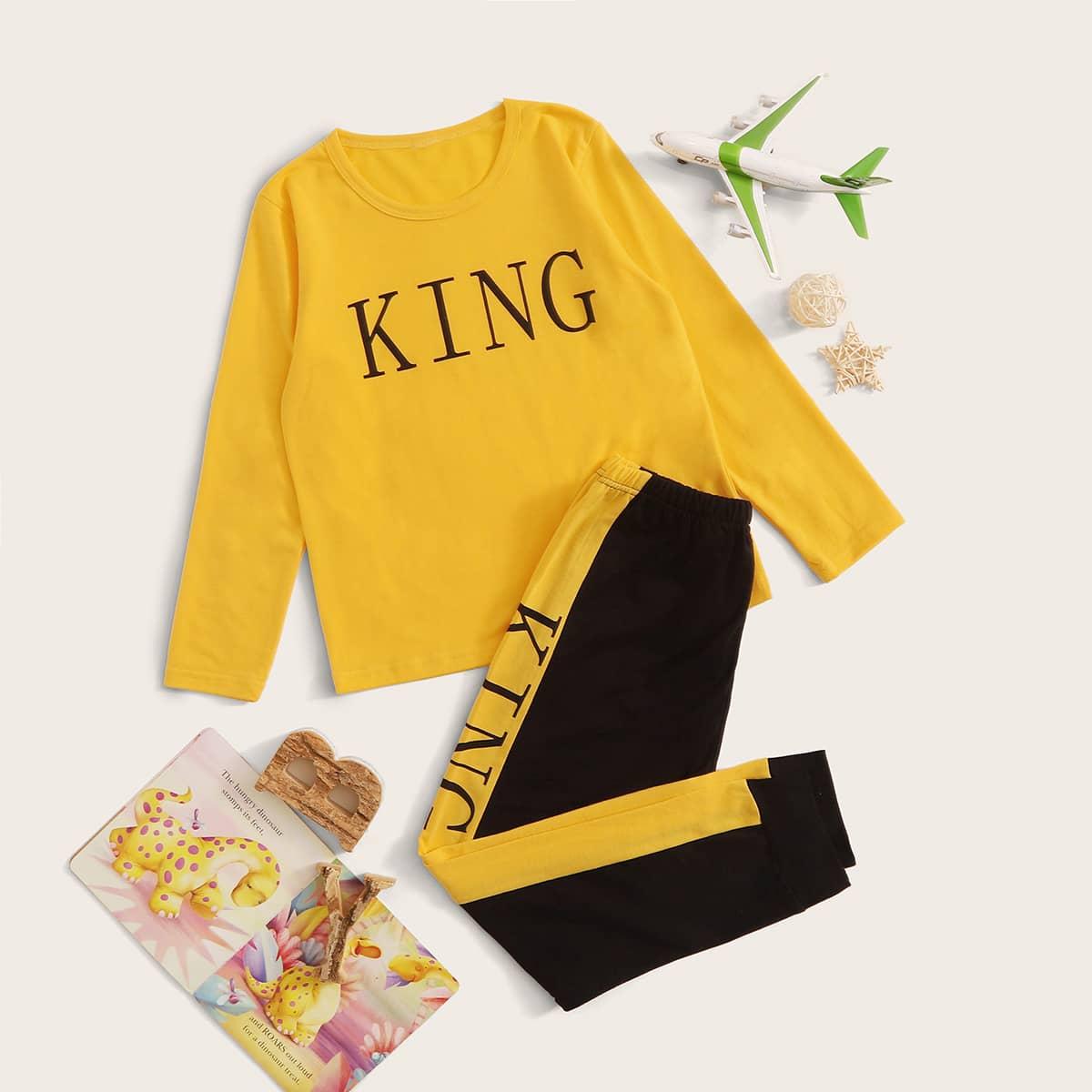 Пижама с текстовым принтом для мальчиков от SHEIN