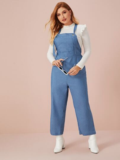 SheIn / Plus Pocket Front Wide Leg Denim Overalls
