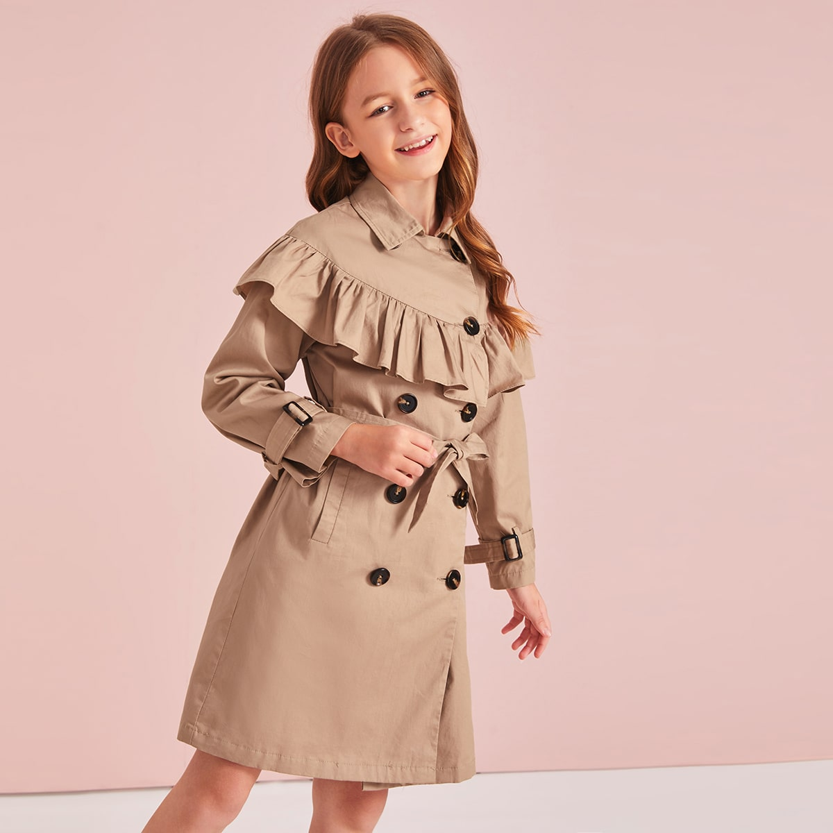 Двубортное пальто с пуговицами и поясом для девочек от SHEIN