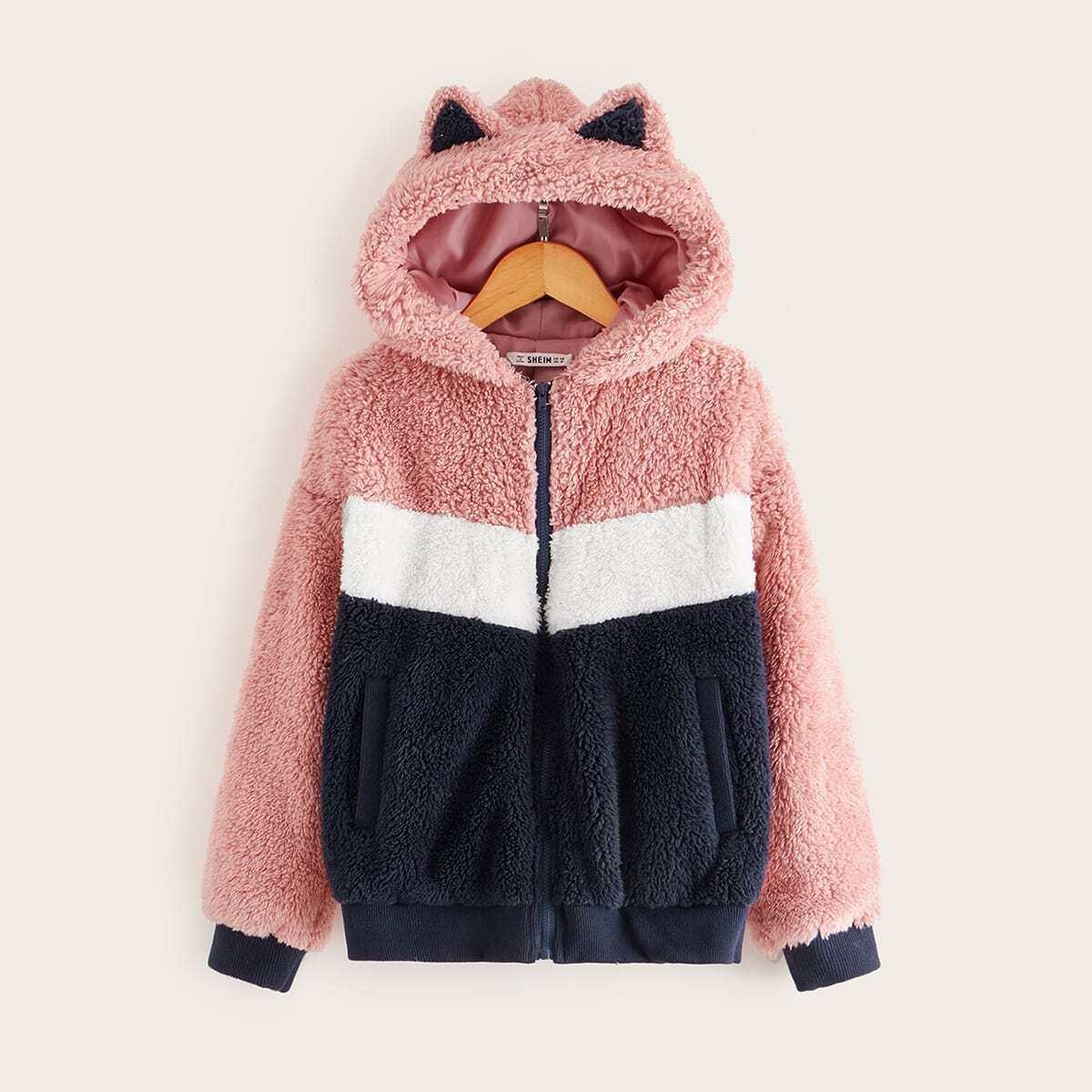 Контрастная плюшевая куртка на молнии с ушами для девочек от SHEIN