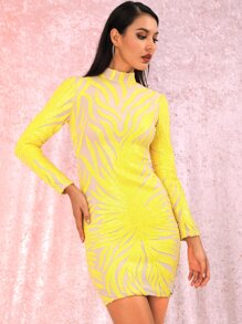 Sequin   Yellow   Dress   Neon   Neck