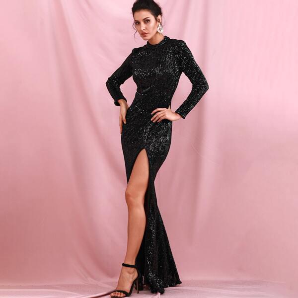 LOVE&LEMONADE Mock Neck Split Thigh Sequin Prom Dress, Black