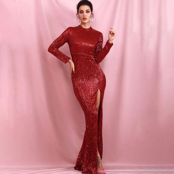 LOVE&LEMONADE Mock Neck Split Thigh Sequin Prom Dress, Red bright