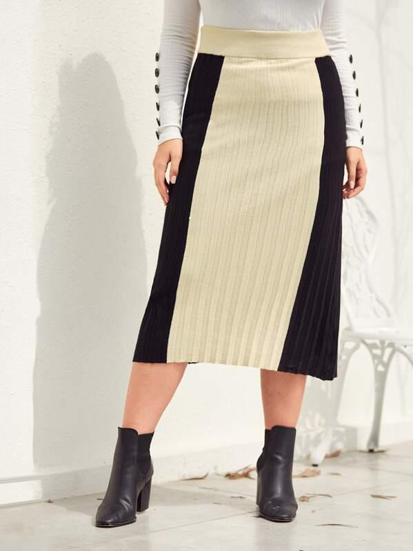 Plus Colorblock Rib-Knit Sweater Skirt Without Belt, Nora