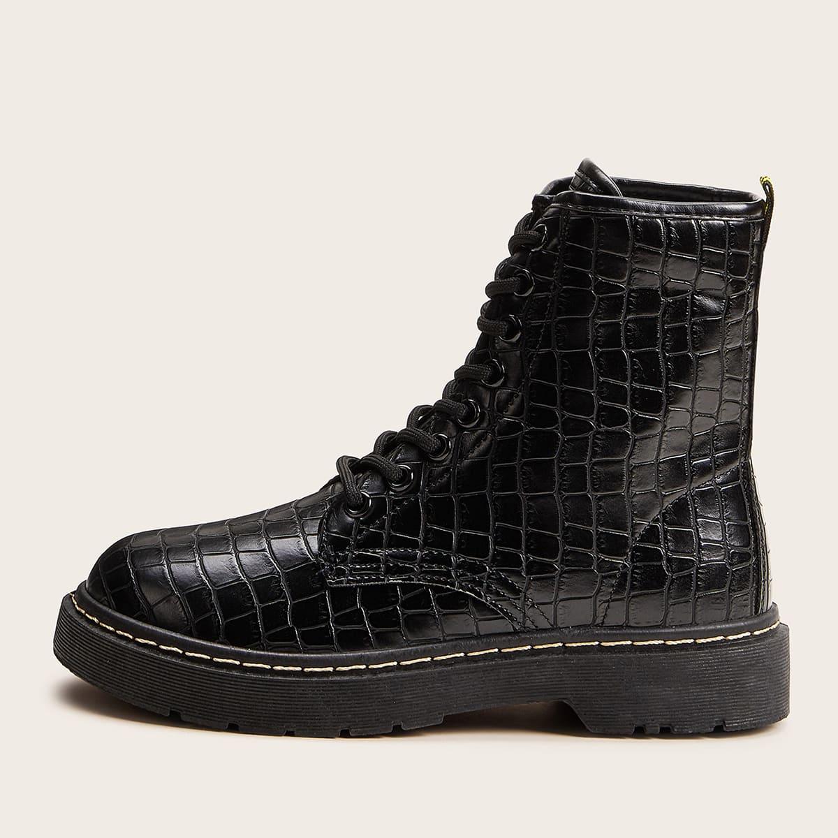 Zwart Comfortabel Krokodil Laarzen