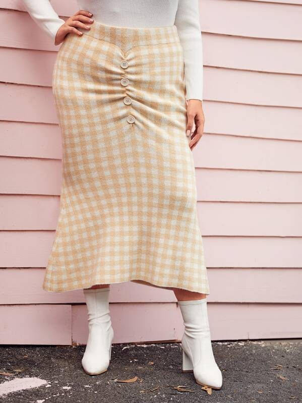 Plus Button Front Gingham Sweater Skirt, Nora