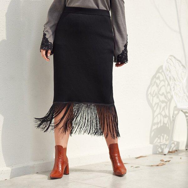 Plus Fringe Hem Ribbed Knit Sweater Skirt