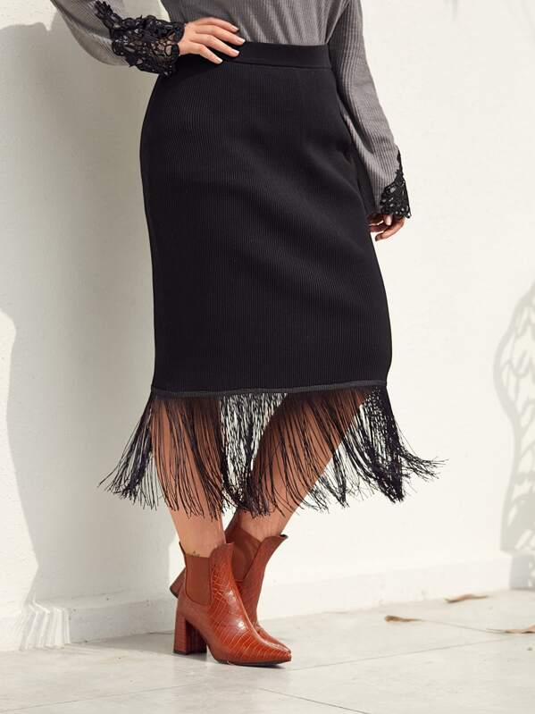 Plus Fringe Hem Ribbed Knit Sweater Skirt, Nora