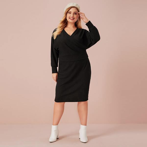 Plus Surplice Neck Ribbed Knit Sweater With Sweater Skirt