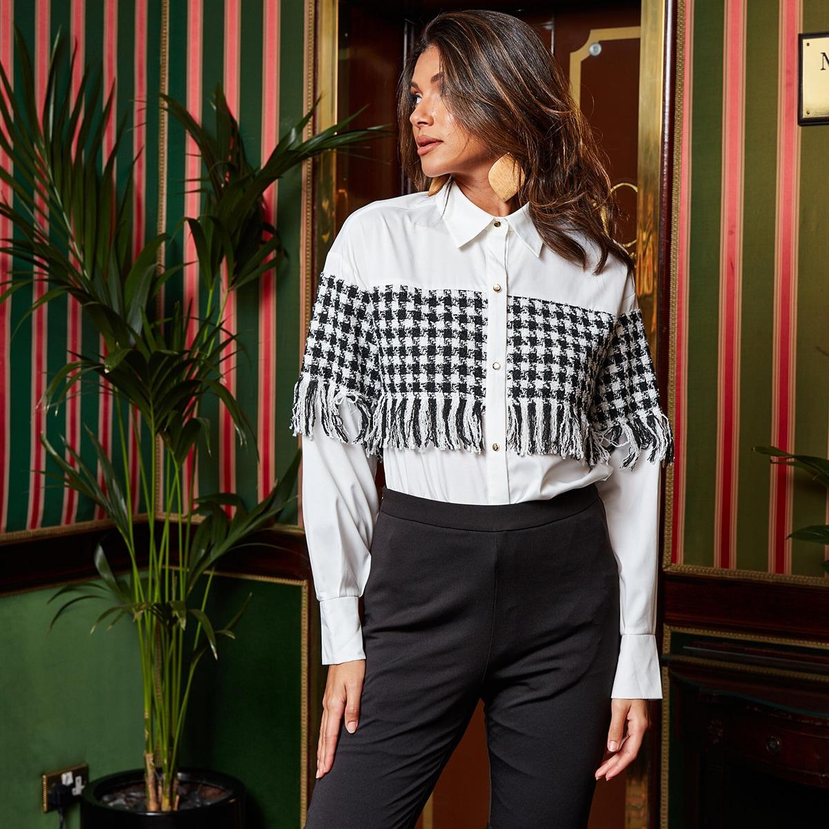 SHEIN / Camisa de cuadros tweed con diseño de fleco