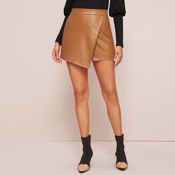 Wrap Asymmetrical Hem PU Skirt, Camel