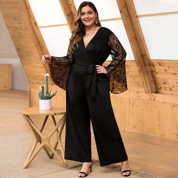 Plus Contrast Lace Flounce Sleeve Self Tie Jumpsuit, Black