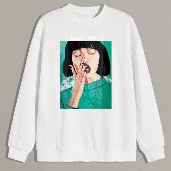 Men Figure & Letter Graphic Sweatshirt, White