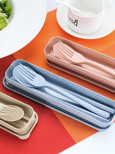4pcs Portable Wheat Straw Cutlery With Box