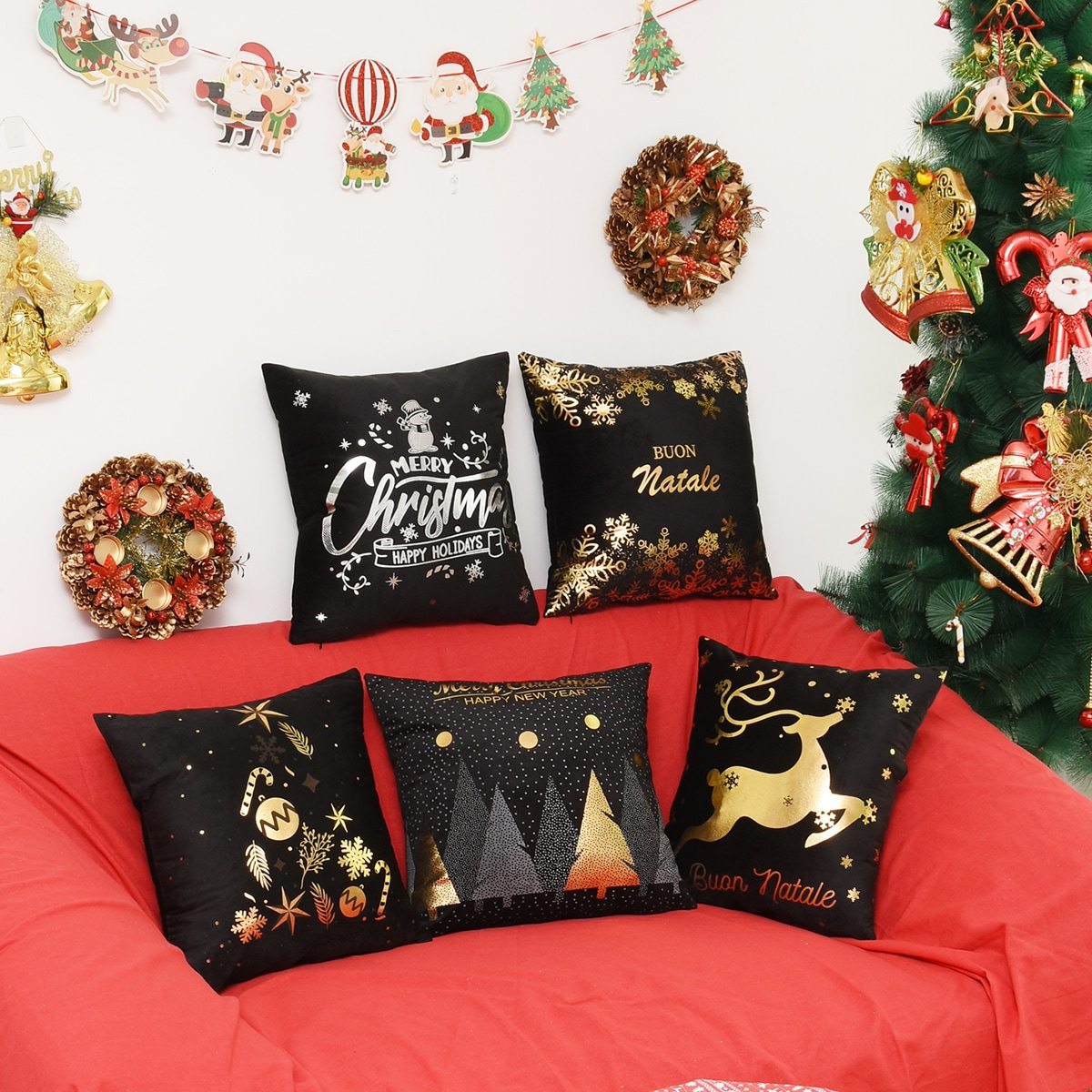 1pc Christmas Hot Stamping kussenhoes