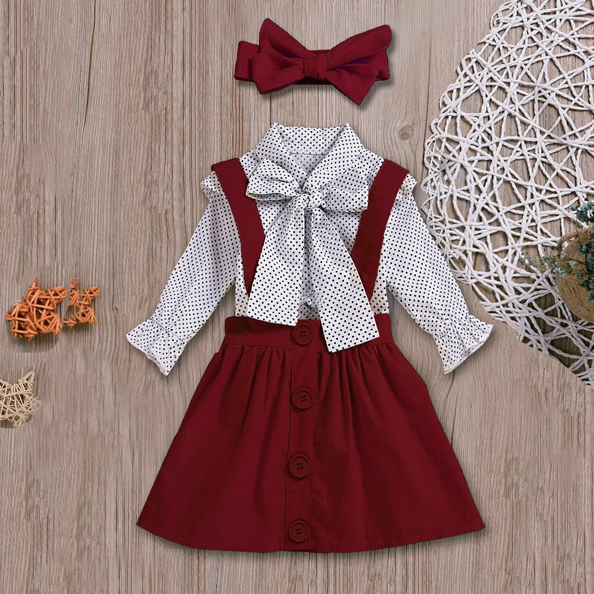 Сарафан-юбка и топ в горошек с воротником-бантом и повязкой для девочек от SHEIN
