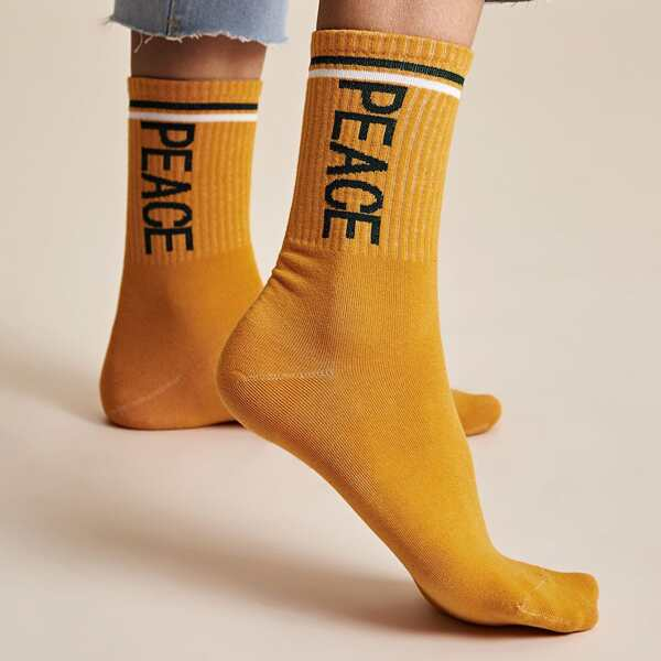 1pair Letter Embroidery Socks, Yellow
