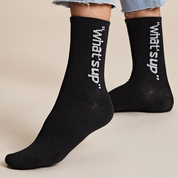 1pair Slogan Graphic Socks, Black