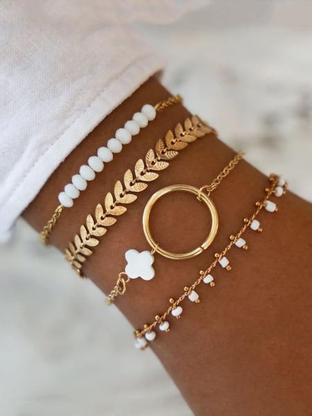 4pcs Leaf Decor Bracelet