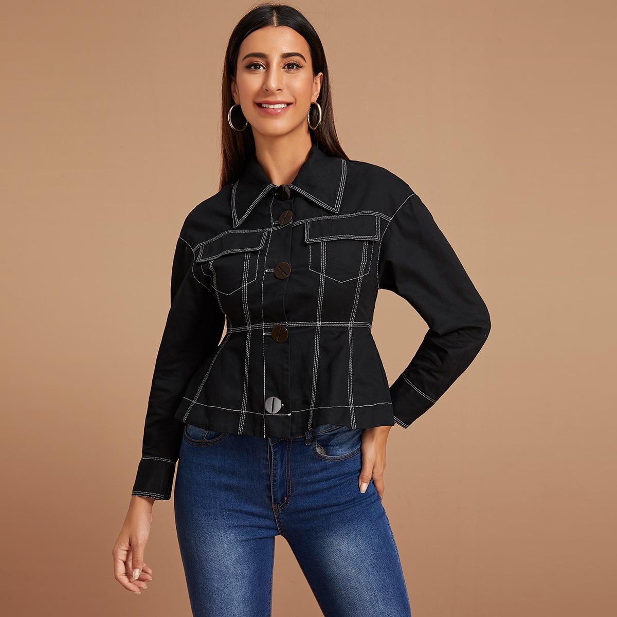 SHEIN / Schwarz Knöpfen vorn Einfarbig Lässig Jacken