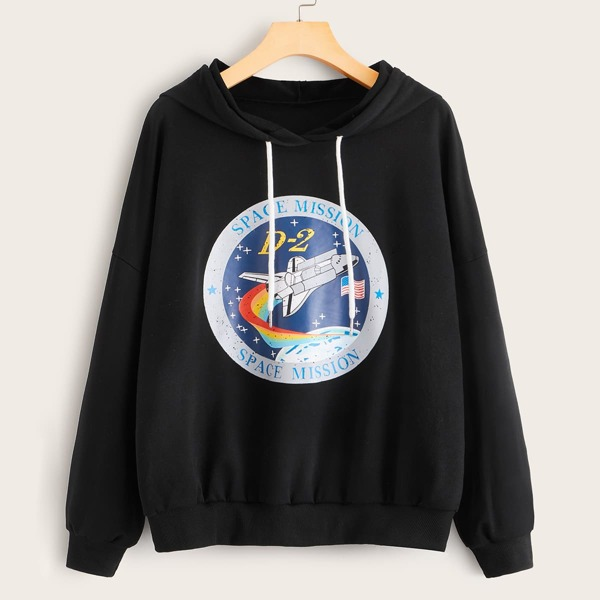 Rocket And Letter Graphic Drawstring Hoodie, Black