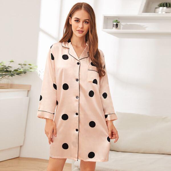 Polka Dot Button-up Satin Night Dress