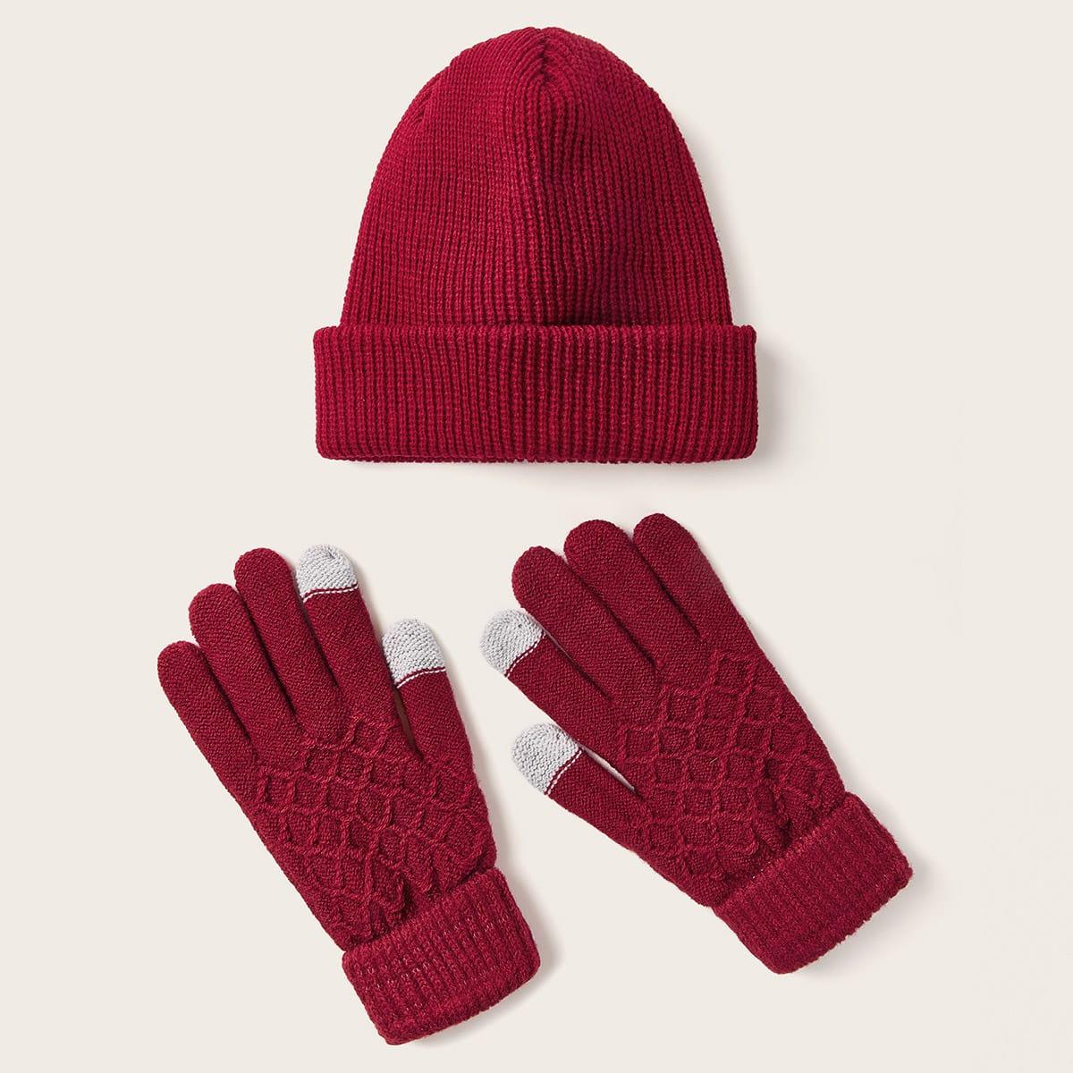 3-delige kerst gebreide muts en handschoenen