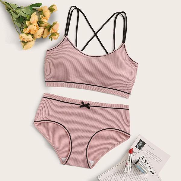 Rib Criss Cross Lingerie Set, Pink
