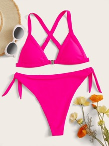 Triangle | Bikini | Neon | Pink | Tie | Top | Set | Ty