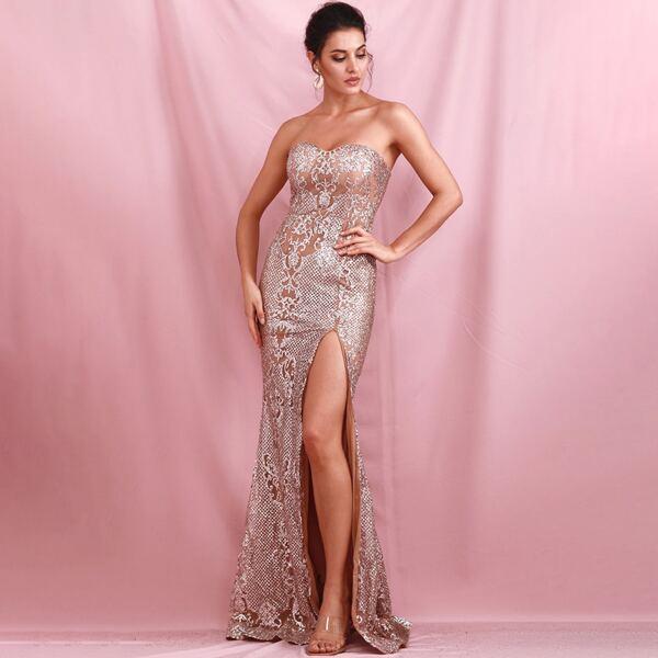 LOVE&LEMONADE Damask Split Thigh Tube Prom Glitter Dress, Multicolor