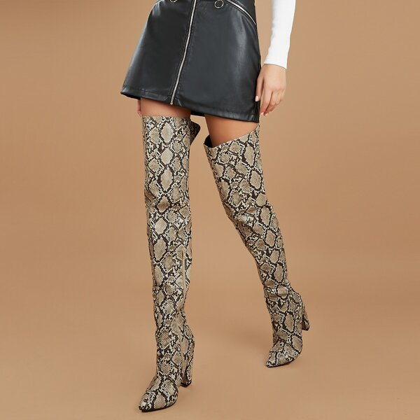 Pointed Toe Snakeskin Over The Knee Heeled Boots, Multicolor