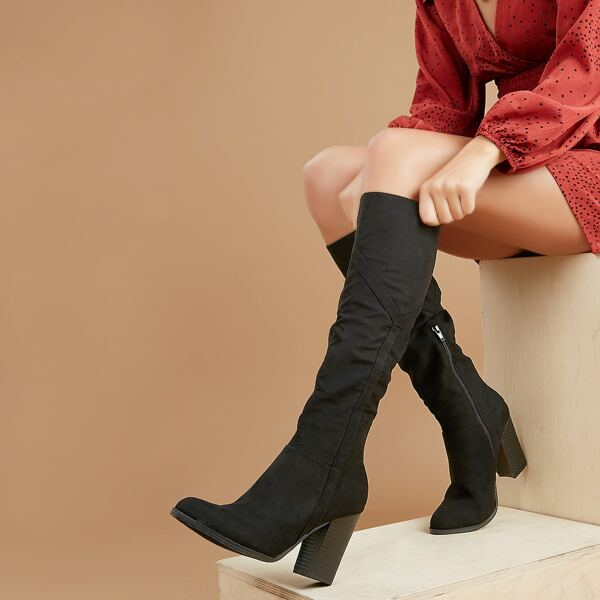 Almond Toe Knee High Stacked Heel Boots, Black