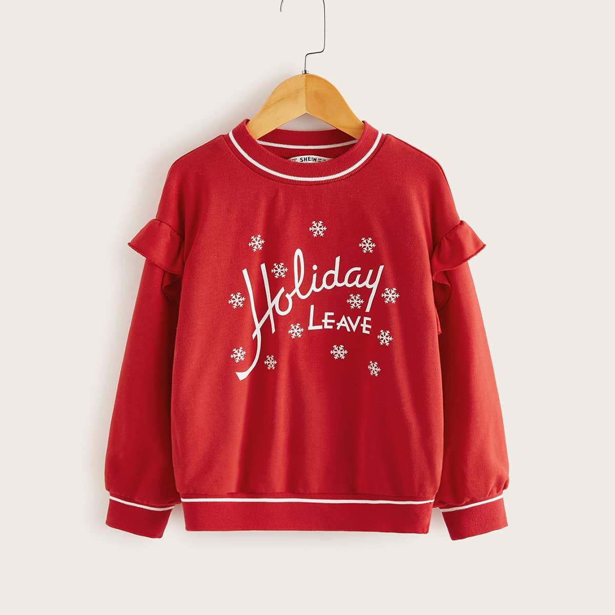 Пуловер с оборками и рождественским принтом для девочек от SHEIN
