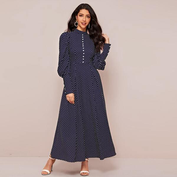 Polka Dot Button Detail Gigot Sleeve Dress, Navy