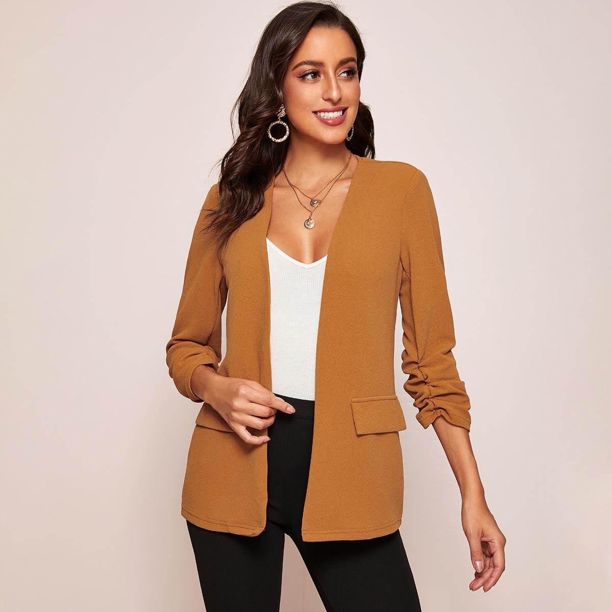 Пиджак без воротника с оригинальным рукавом от SHEIN
