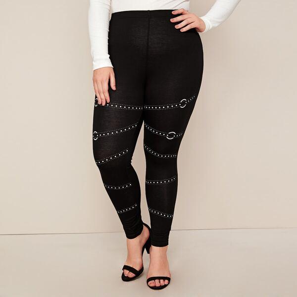 Plus Ring Strap Print Leggings, Black
