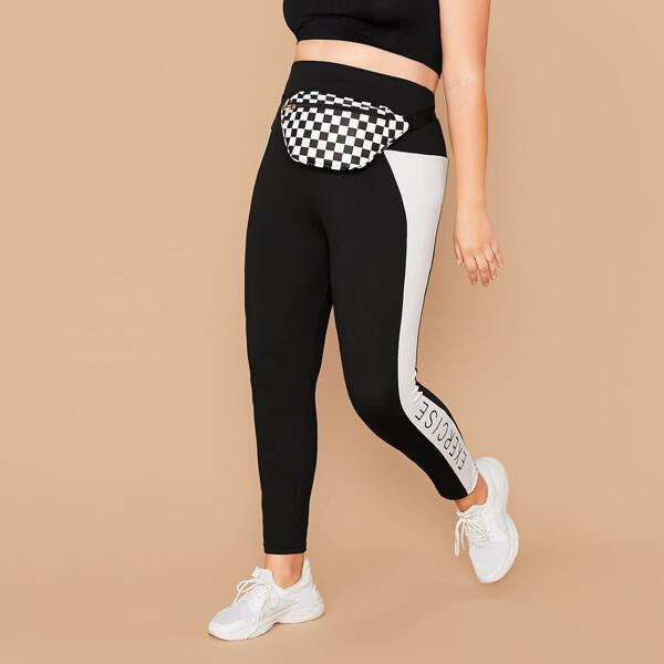 Plus Letter Graphic Wide Band Waist Leggings Without Bag, Black and white