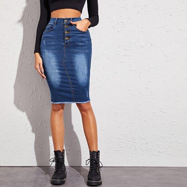 Button Front Raw Hem Bodycon Denim Skirt, Blue