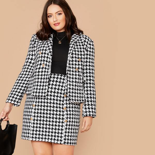 Plus Double Breasted Houndstooth Blazer & Skirt Set, Black and white
